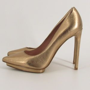 Enzo Angiolini Gold Point Toe Leather Heels 8.5M